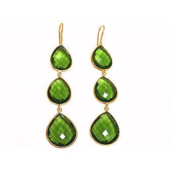 Gemshine - ladies - gold plated 9 cm - Silver 925 - earrings - Peridot quartz - green - CANDY - drops-