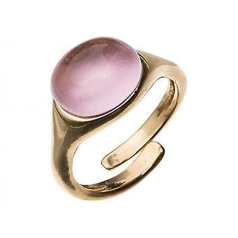 Gemshine - kvinnors - ring - guld pläterad 925 Silver - rosenkvarts - rosa - storlek justerbar - 10 mm