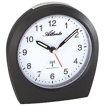 dark-grey radio controlled alarm clock quietly creeping second light function