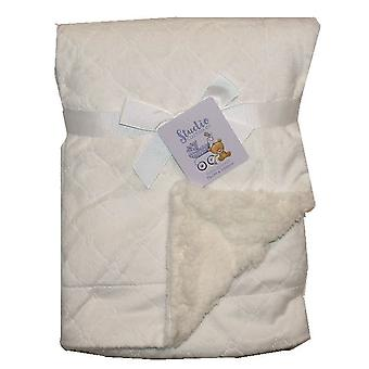 Diamond Embroidered Mink Sherpa Fleece Lined Baby Blanket