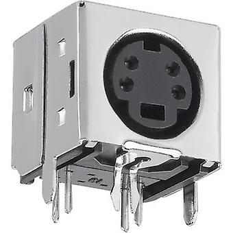 BKL Electronic 0204067 Mini DIN connector Socket, horizontal mount Number of pins: 6 Black 1 pc(s)