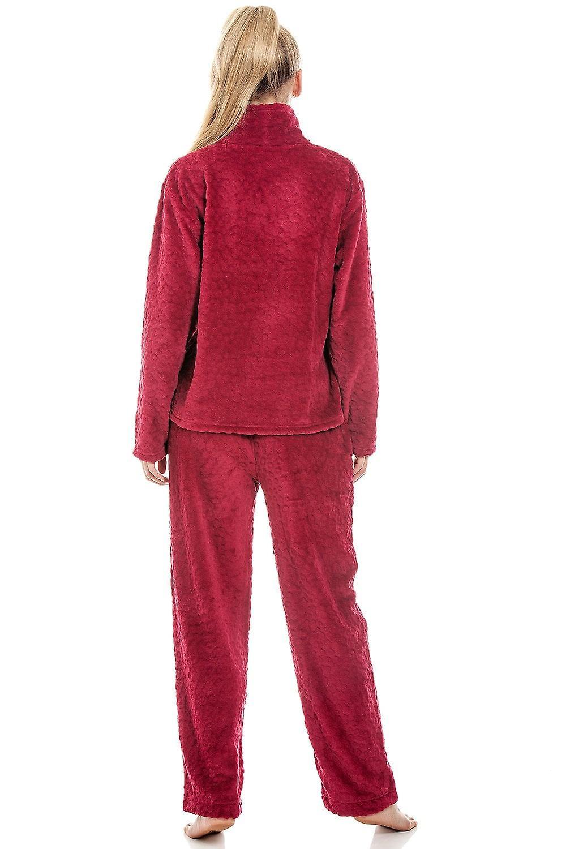 Camille Womens Supersoft Fleece Red Pyjama Set