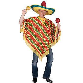Mexican Poncho - Chilli Print.