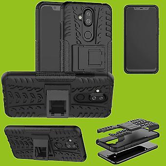 Für Nokia 8.1 2018 ( X7 ) 6.18 Zoll Hybrid Case 2teilig Outdoor Schwarz Zubehör Tasche Hülle Cover Schutz