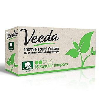 Veeda 100% natural cotton tampons, regular, 16 ea
