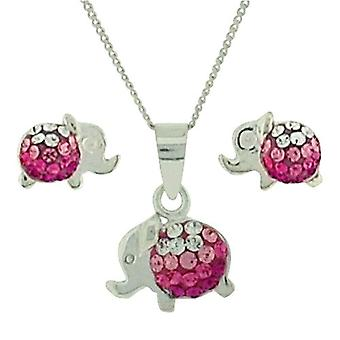 TOC Sterling Silver Pink Elephant Earrings & Pendant Necklace 14