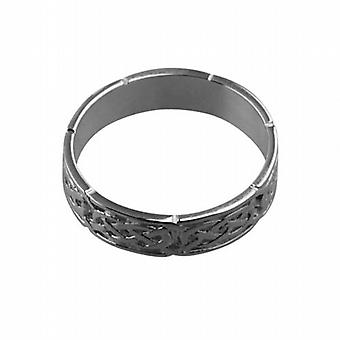 18ct White Gold 6mm Celtic Wedding Ring Size R
