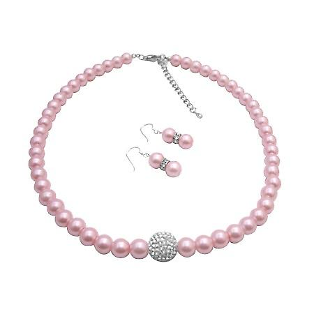 Sparkling Like Read Diamon Rose Faux Pearls Necklace & Earrings Set