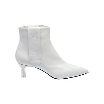 Casadei White Leather Ankle Boots
