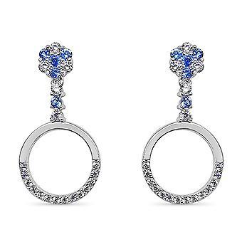 Ah! Jewellery Sterling Silver Sapphire Crystals from Swarovski Accented Hoop Dangle Earrings