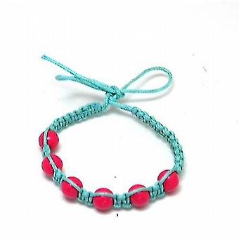 The Olivia Collection Blue/Green Cotton Friendship Bracelet with Pink Beads