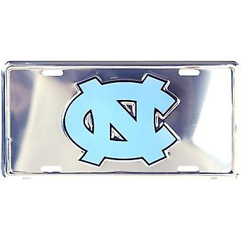 North Carolina Tar Heels NCAA Silver Mirror License Plate