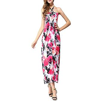 Ladies floral print summer beach casual maxi day dress long halter neck