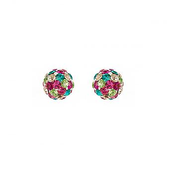 Eternity Sterling Silver 6mm Multi-Colour Crystal Ball Stud Earrings