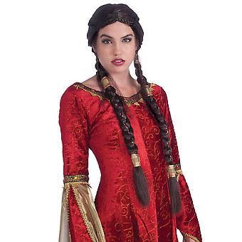 Medieval Maiden Renaissance Princess Plaits Braids Women Costume Wig