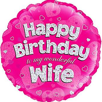 Oaktree 18 Inch Circle Happy Birthday Wife Foil Balloon