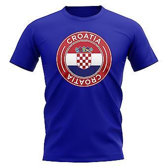 Kroatien Fußball Abzeichen T-Shirt (Königlich)
