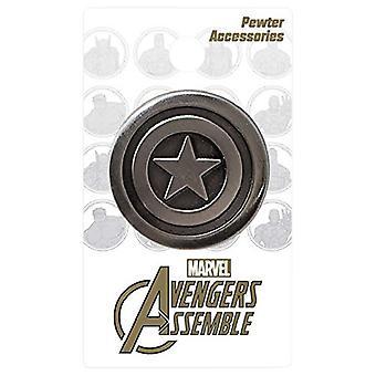 Grote pin-Marvel-Captain America logo tinnen revers nieuw speelgoed gelicentieerd 68408