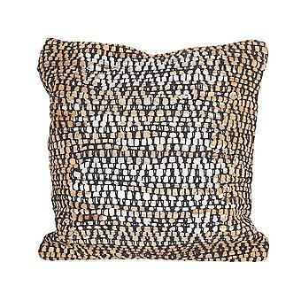 Cotton Leather Hand Knit Cushion Argyle 45 X 45 Cm