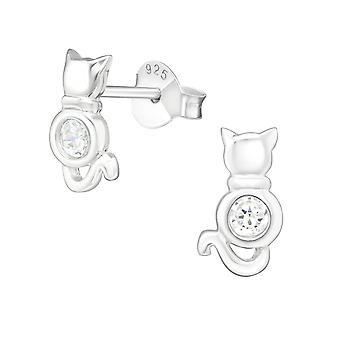 Kat - 925 Sterling sølv Cubic Zirconia øret knopper - W22000X