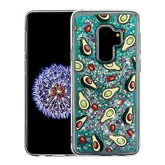Avocado & Green Quicksand (Hearts) Glitter Hybrid Case for Galaxy S9 Plus