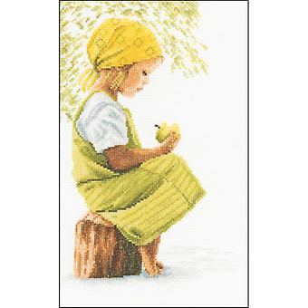 LanArte Girl With Apple On Cotton Counted Cross Stitch Kit-8