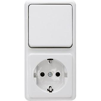 Kopp Switch/socket combo Standard surface-mount Arctic white 108802007