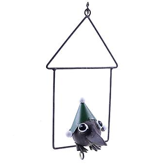Hanging Metal Green Christmas Fat Ball Holder Bird Feeder