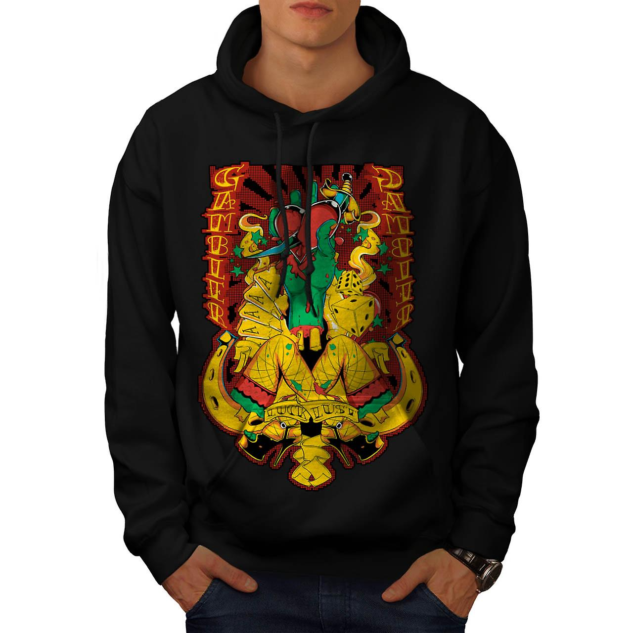 Gamble Heart Sexy Casino Aces Card Men Black Hoodie | Wellcoda