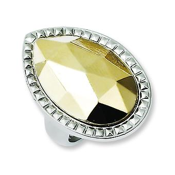 Laundry Silver-tone With Simulated Gold-tone Stone Ring - Ring Size: 7 to 8