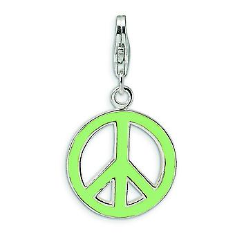 Sterling Silver Green Enameled Peace Symbol With Lobster Clasp Charm - 2.2 Grams - Measures 30x16mm