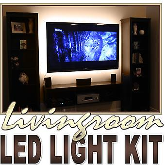 Biltek 2' ft Warm White Sofa Couch Back Light LED Backlight Accent Night Light On/Off Switch Control Kit - TV Couch Lighting Wall Units Fireplaces Floating Shelves Waterproof Flexible DIY 110V-220V