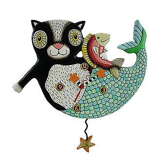 Mercat Mermaid Cat Pendulum Wall Clock
