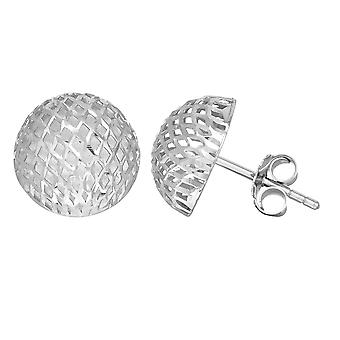 Sterling Silver Rhodium Finish 12mm maska Style semi runda knappen Stud Earring