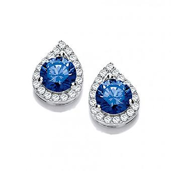 Cavendish French Silver and Sapphire Cubic Zirconia Teardrop Twist Earrings