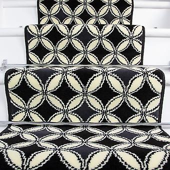 80cm Width - Contemporary Black & White Geometric Stair Carpet