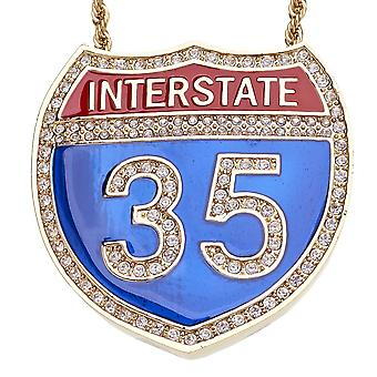 Iced out bling hip hop chain - INTERSTATE 35 gold