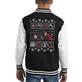 Santa Of The Yolk Folk Dizzy Prince Christmas Kid's Varsity Jacket