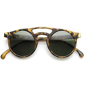 Retro P3 Bold Rim Double Bridge Keyhole Round Sunglasses