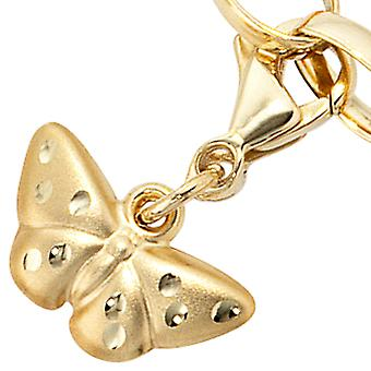 Single earrings charm Butterfly 333 gold yellow gold matte finish