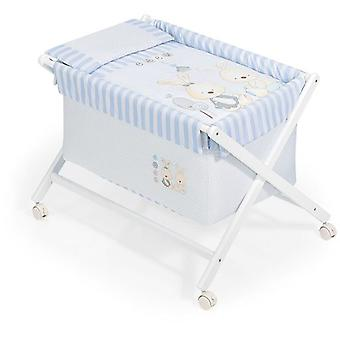 Interbaby Natural Wood Crib Baby Blue Bunny Model