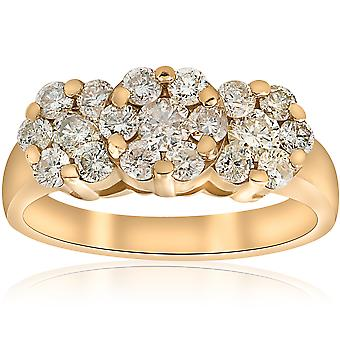1 1 / 3ct Diamond drie stenen Ring 14K Yellow Gold