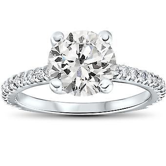 2.30CT Diamond (2.00ct center) Engagement Ring 14K White Gold