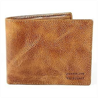 GREEN country mens wallet Leather Brown nature light