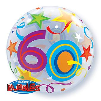 Qualatex 22 Inch Single Age 60 Star Pattern Bubble Balloon