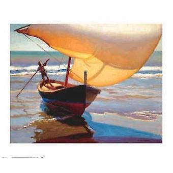 Fishing Boat Spain Poster Print by Arthur Rider (32 x 27)