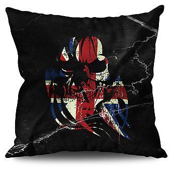 Skull Death Print Flag UK Linen Cushion Skull Death Print Flag UK | Wellcoda