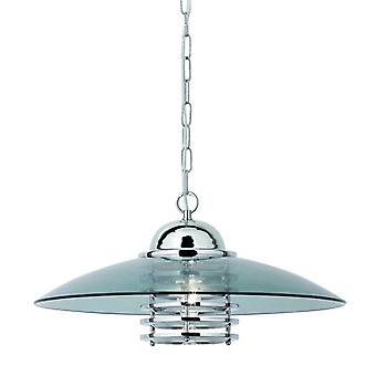 Chrome And Smoked Glass Single Pendant - Searchlight 1300cc