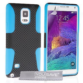 Samsung Galaxy Note 4 harte Mesh Combo Case - blau-schwarz