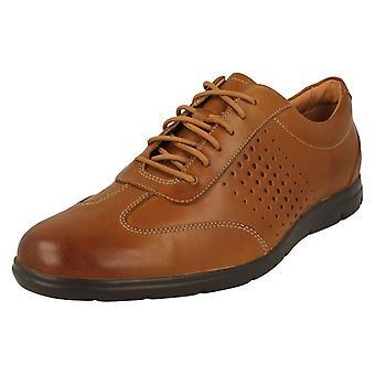Mens Clarks Casual spets upp skon Vennor Vibe - Tan läder - UK storlek 8G - EU storlek 42 - US storlek 9M